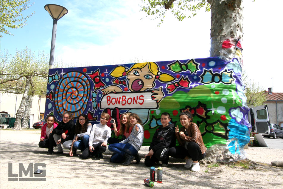 photo 01 stage graffiti et tag cellograff ariège par Le Mouvement Graphique 2015