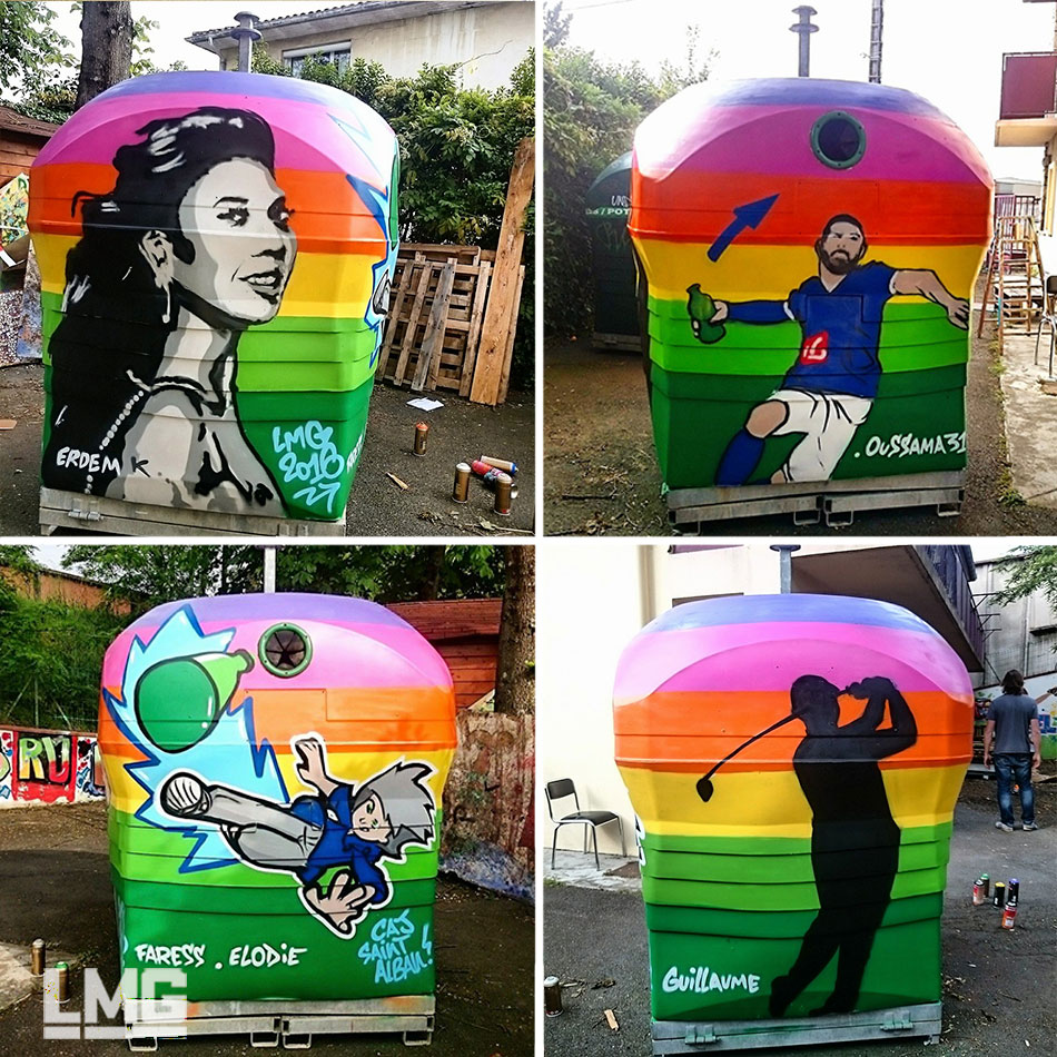 decoration tageur fresque participative mobilier urbain recup verre