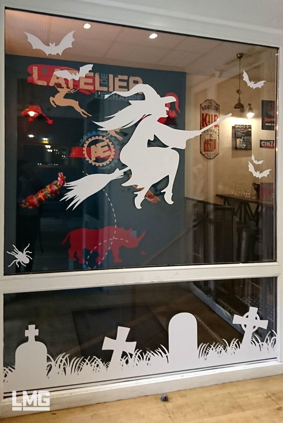 vitrophanie halloween décoration restaurant toulouse